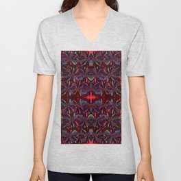 Ruby Neon- Abstract Floral Unisex V-Neck