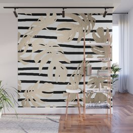 Simply Tropical White Gold Sands Palm Leaves on Stripes Wall Mural