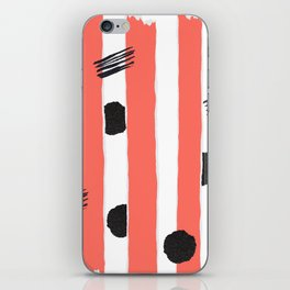 chic Living Coral stripes with black glitter accents iPhone Skin