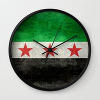 "islam Wall Clocks featuring The Syrian ""independence flag""  retro style version by Bruce Stanfield"