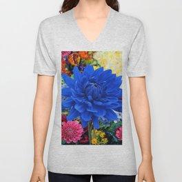 CONTEMPORARY BLUE DAHLIA GARDEN ART Unisex V-Neck
