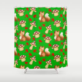 Cute foxes, wild forest mushrooms and red retro dots green nature pattern design. Fall season. Shower Curtain