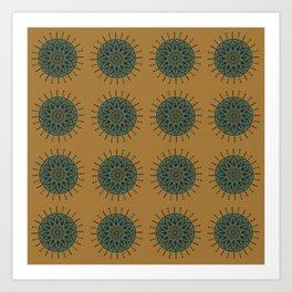Himalayan Candy Ochre - Mini Mandala Pattern Art Print