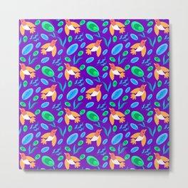 Pretty beautiful cute little birds and green blue delicate leaves, plants purple seamless pattern. Metal Print