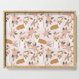 Corgi Floral Print - blush, coral, floral, spring, girls feminine corgi dog Serving Tray