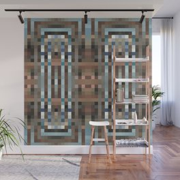 MODERNE art deco symmetry in silver blue and copper brown Wall Mural