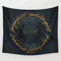 lord of the rings Wall Tapestries featuring The Lord Of The Rings Logo by Janismarika