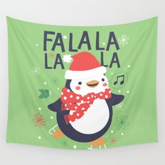 Fa la la penguin Wall Tapestry
