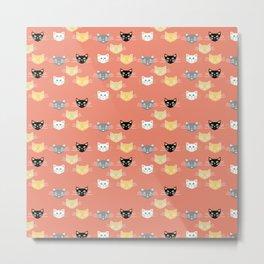 Kitties - Coral Metal Print