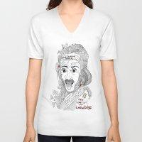 einstein V-neck T-shirts featuring Einstein by Ina Spasova puzzle
