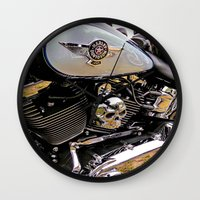motorbike Wall Clocks featuring  Motorbike  by Scenic View Photography