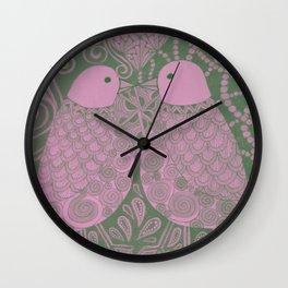 Purple Love Birds Wall Clock
