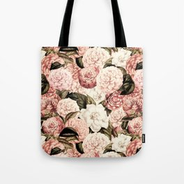 Vintage & Shabby floral camellia flowers watercolor pattern Tote Bag