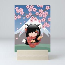 Japanese Kitsune Kokeshi Doll Mini Art Print