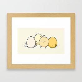 Cute Kawaii Easter Chick and Eggs Framed Art Print