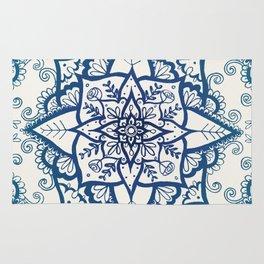 Blue Floral Pattern on Cream Rug