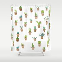 cacti Shower Curtains featuring Cacti by Yardia