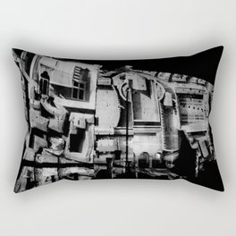 Antique Rome, black white columns, structure, city walls, abstract Rectangular Pillow