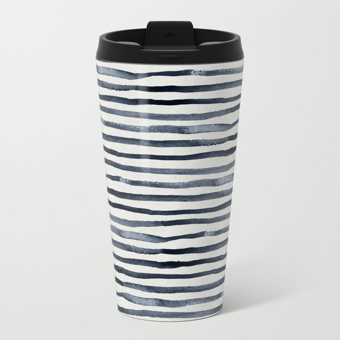 Simply Shibori Stripes Indigo Blue on Lunar Gray Metal Travel Mug
