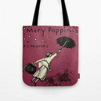 mary poppins Tote Bags featuring Mary Poppins by MW. [by Mathius Wilder]