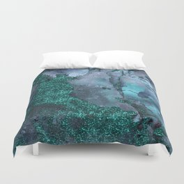 Malachite Glitter Stone and Ink Abstract Gem Glamour Marble Duvet Cover