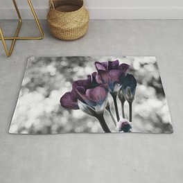 Pop of Color Flowers Muted Eggplant Teal Rug