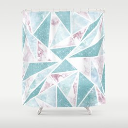 Chic Teal Glitter Pink Marble Geometric Triangles Shower Curtain