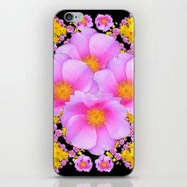 Cerise Pink Roses Black-Gold Floral Pattern Art iPhone Skin