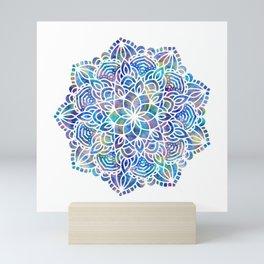 Mandala Little Mermaid Ocean Blue Mini Art Print