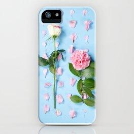Flower Flatlay on Blue iPhone Case