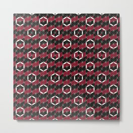 Flower of Life Ring Black Red Metal Print