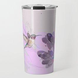 Hummingbird with purple flower watercolor Travel Mug
