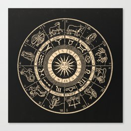 Vintage Zodiac & Astrology Chart | Charcoal & Gold Canvas Print