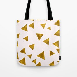Soft Pink And Rustic Gold Triangles Tote Bag