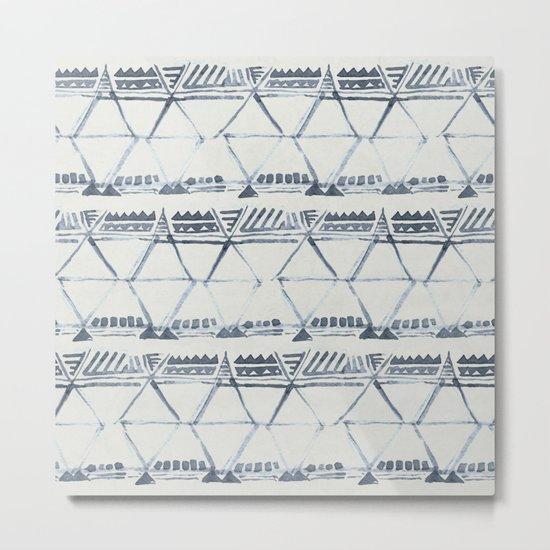 Simply Tribal Shibori in Indigo Blue on Lunar Gray Metal Print