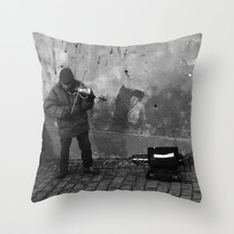 The Persistence of a Street Performer Throw Pillow