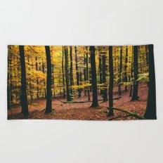 Yellow Orange Autumn Fall Forest Beach Towel