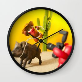 Cow Boy In Action  Wall Clock