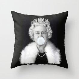 QUEEN ELIZABETH II BLOWING WHITE BUBBLE GUM Throw Pillow