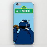 cookie monster iPhone & iPod Skins featuring Cookie Monster by M.REYES
