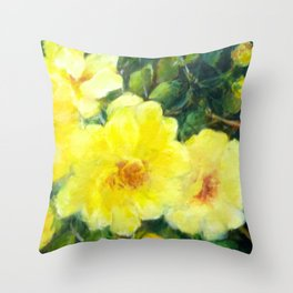 July Yellow Roses Throw Pillow