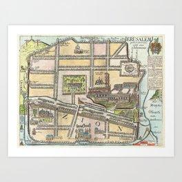 Vintage Map of Jerusalem an Solomon's Temple Art Print