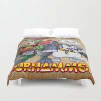 "ferret Duvet Covers featuring Furhammer ""P'Orc and Dark Ferret"" by the Artisan Rogue"