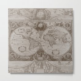 Antique Brown Map Metal Print