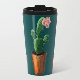 Three Cacti On Green Background Travel Mug
