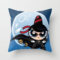 powerpuff girls Throw Pillows featuring Powerpuff Bayonetta by Marco Mottura - Mdk7