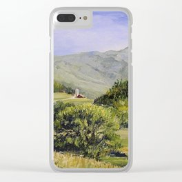 Pastures and Mount Mansfield Oil Landscape Vermont Painting Clear iPhone Case