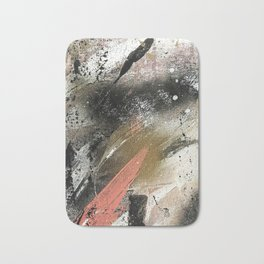 lighning [2]: a colorful abstract piece in black, white, gold, and pink Bath Mat