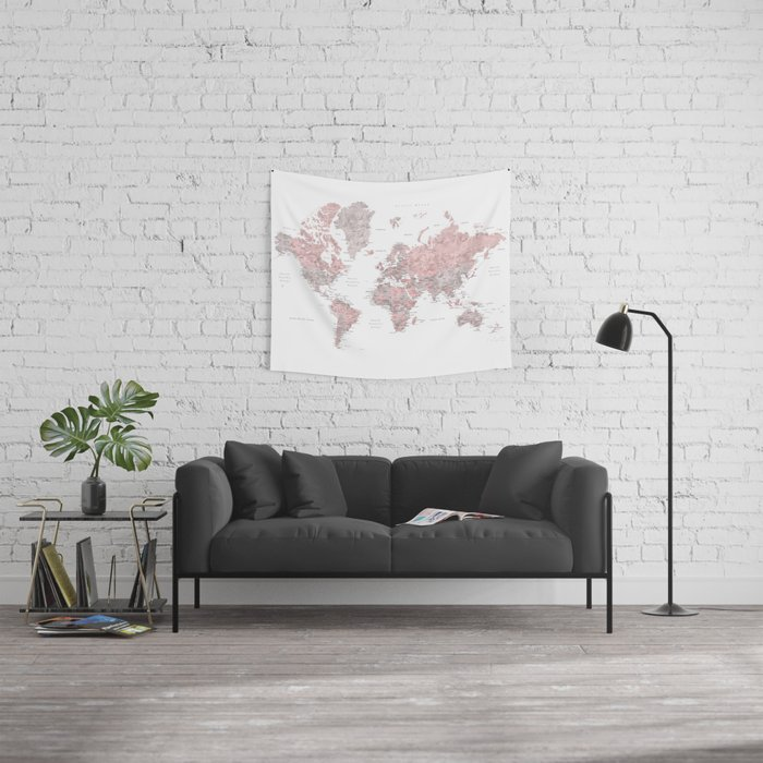 Dusty pink and grey detailed watercolor world map Wall Tapestry