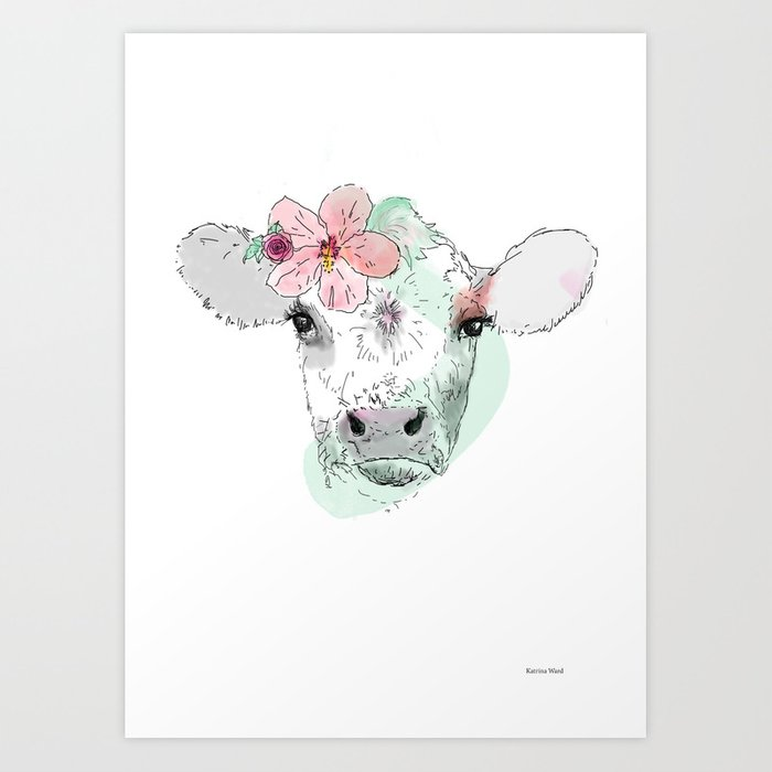 Cow with Hibiscus Art Print